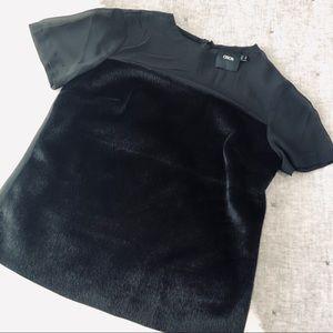 ASOS black faux calf hair sheer top blouse sz.4